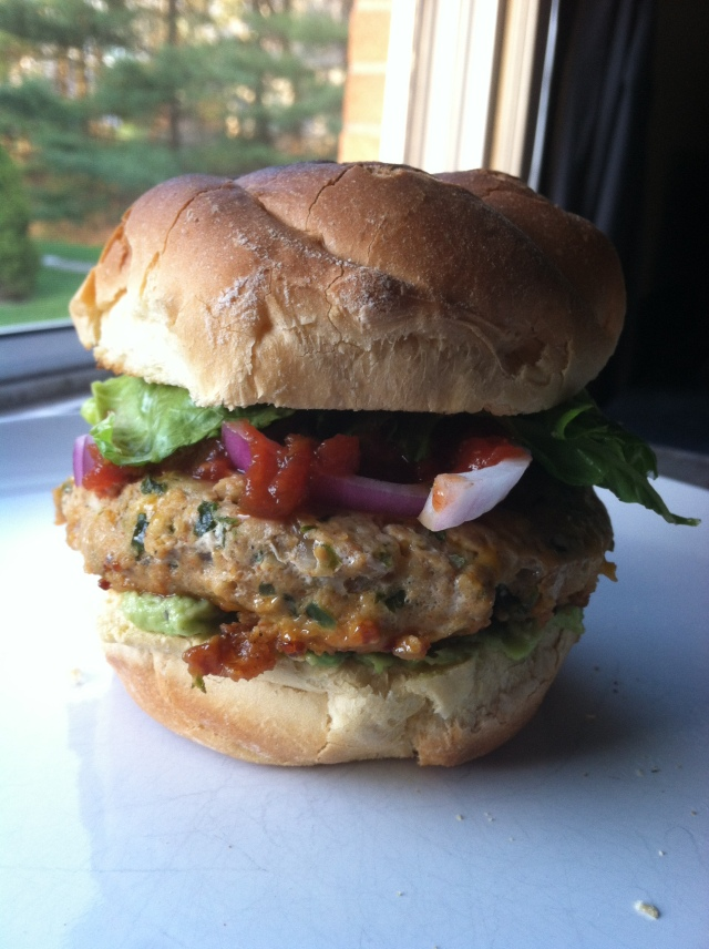 Cheddar-Jalapeno Chicken Burgers with Guacamole