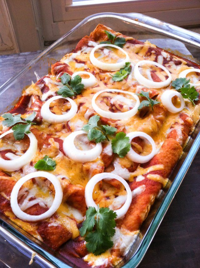 Red Chile Enchiladas with Chicken and Cheese